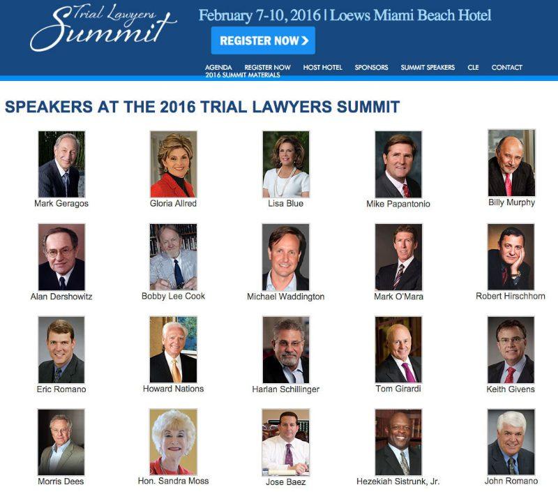 Trial Lawyers Summit 2016 attorney michael waddington